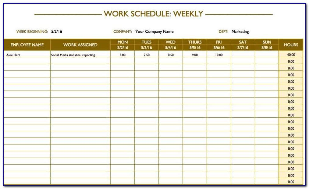 Free Excel Weekly Work Schedule Template