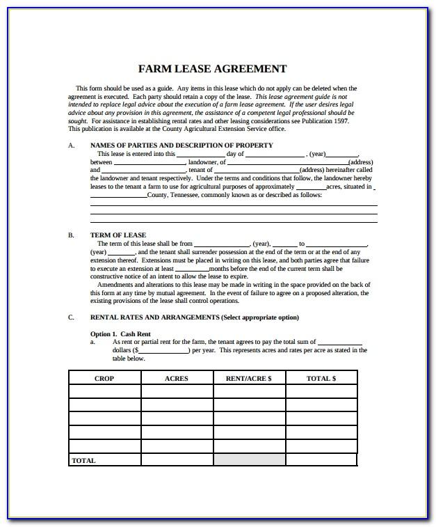 Free Farm Land Lease Agreement Form