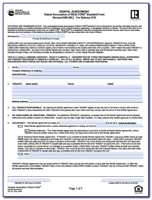 Free Hawaii Rental Agreement Template