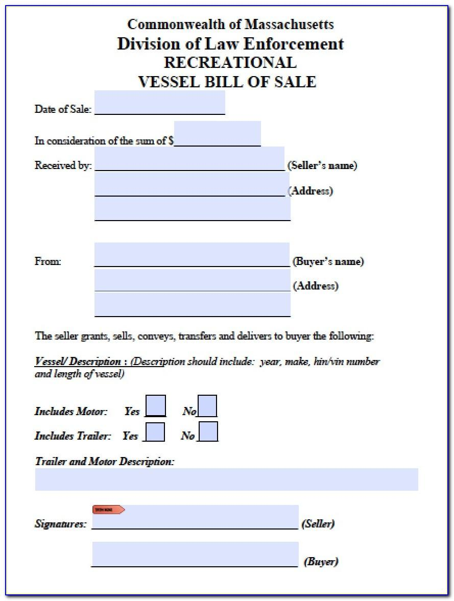 Free Massachusetts Auto Bill Of Sale Template