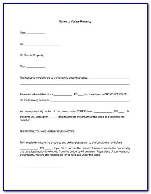 Free Notice Of Intent To Vacate Template