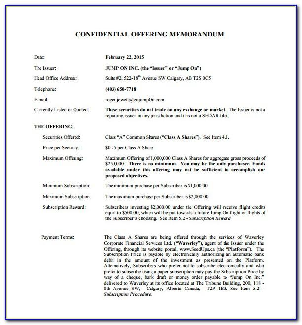 Free Offering Memorandum Template