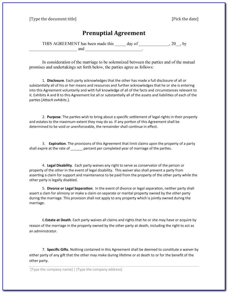 Free Prenuptial Agreement Template
