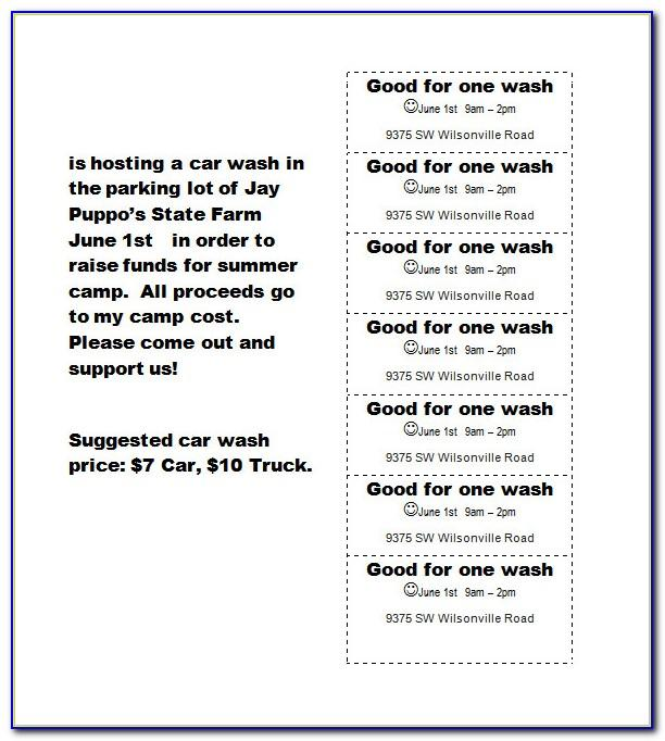 Free Printable Car Wash Ticket Template