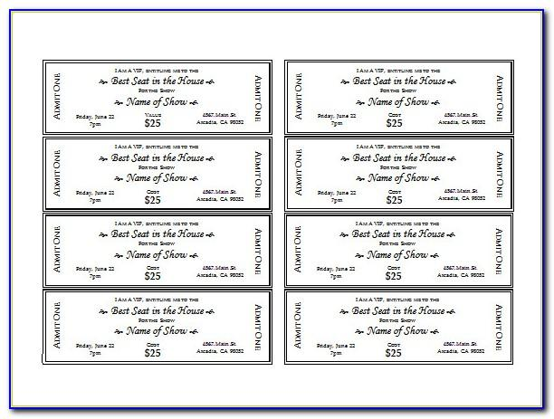 Free Printable Event Tickets Template