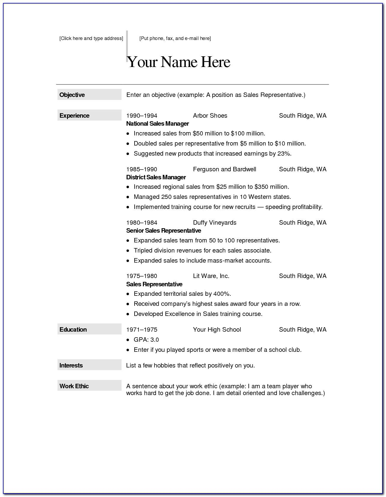 Free Resume Template For Mac Os X