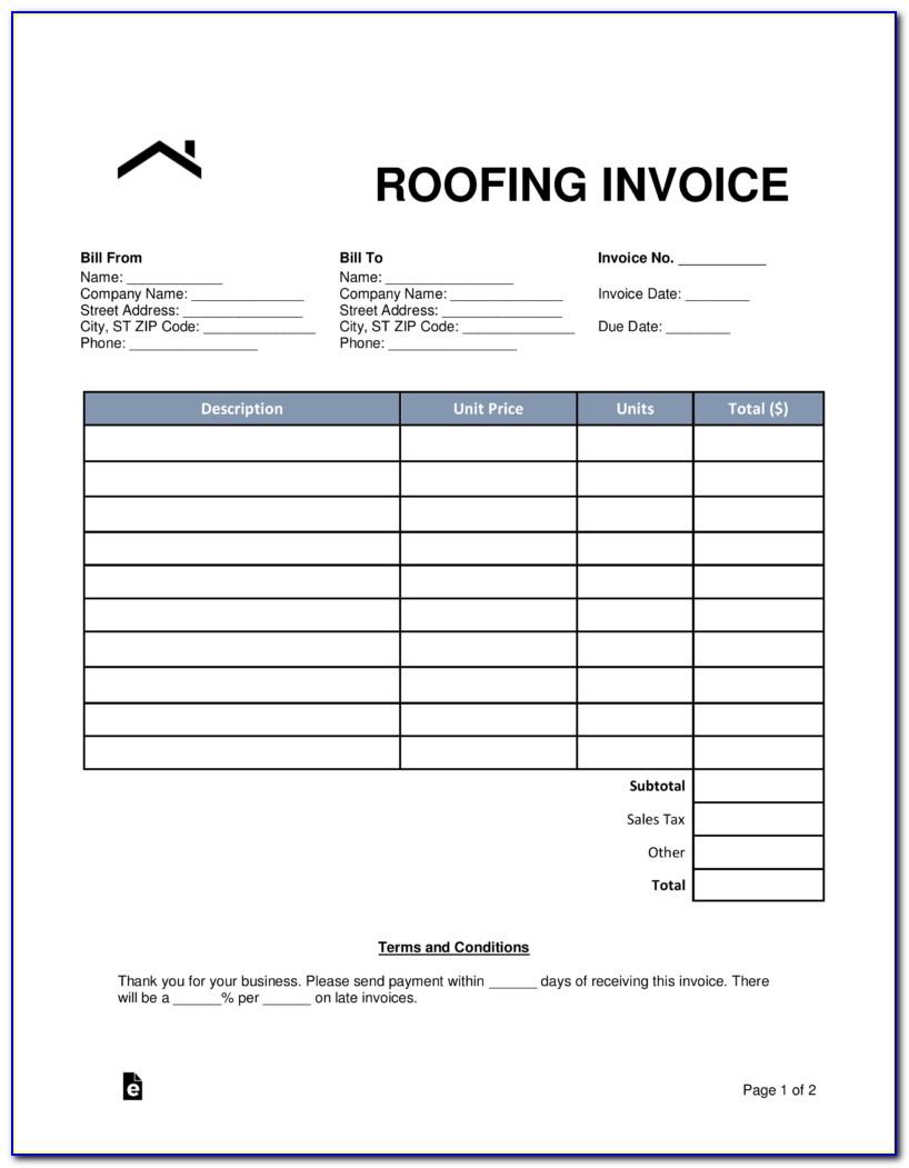 Free Roofing Invoice Template