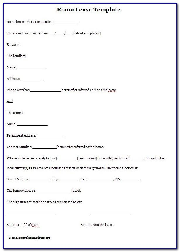 Free Room Rental Lease Agreement Form