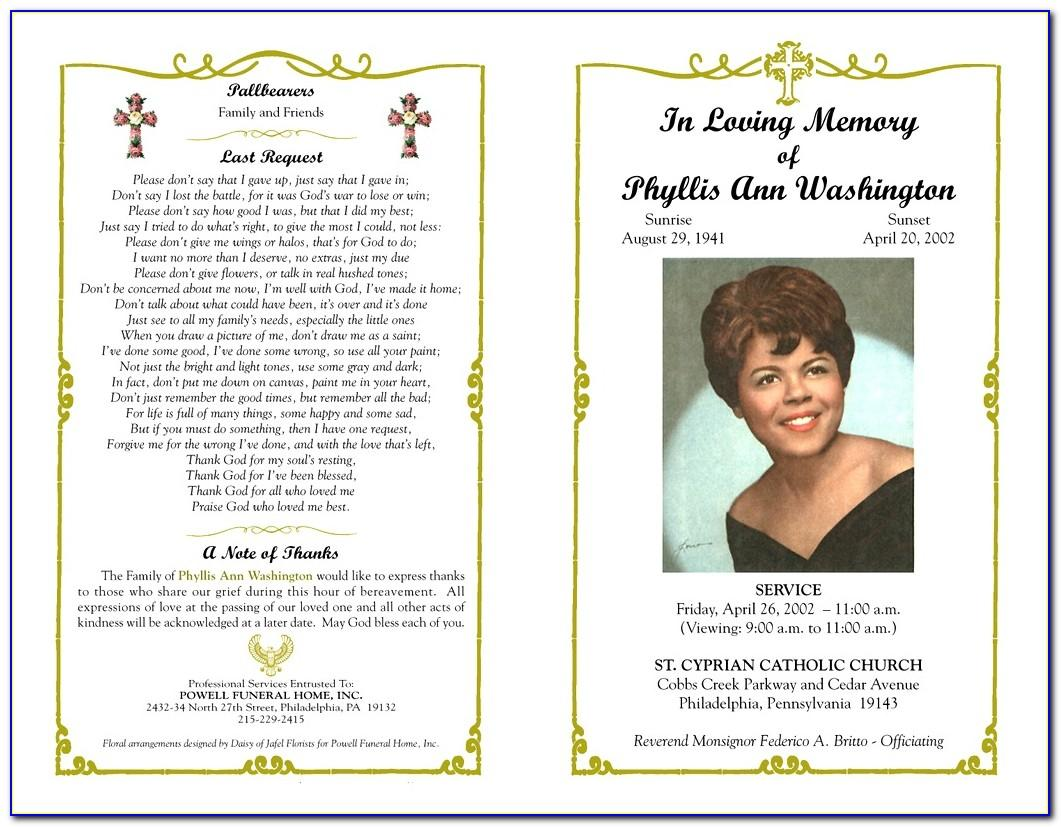 Free Sample Funeral Program Template