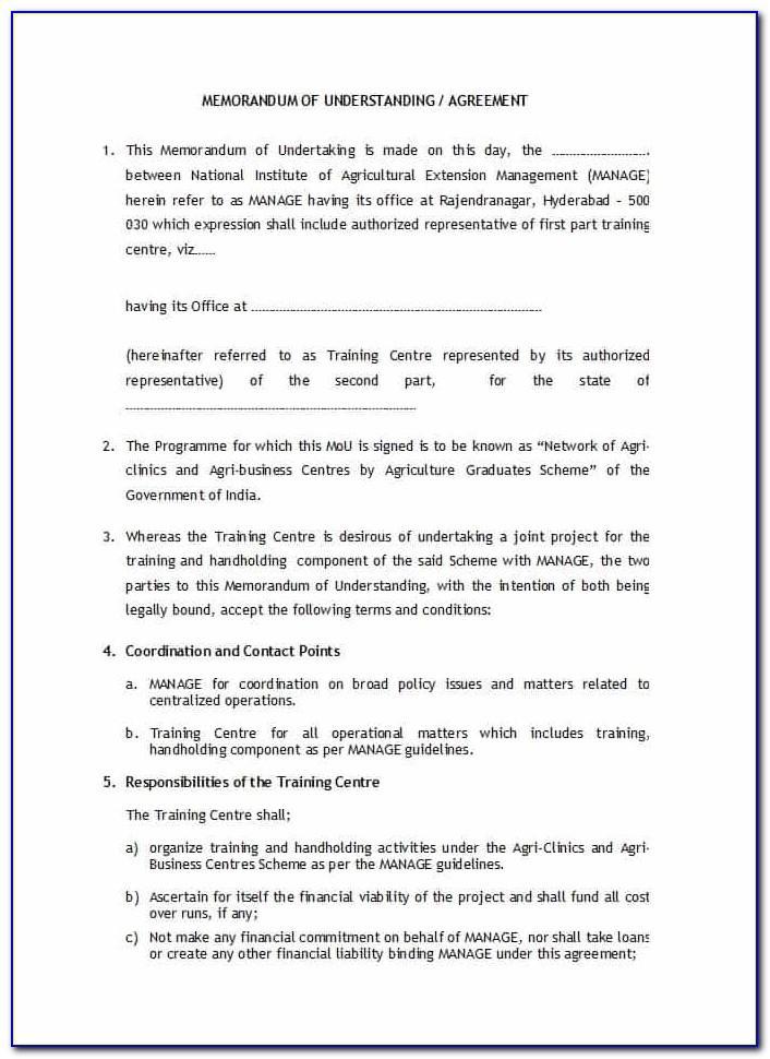 Free Sample Memorandum Of Understanding Template