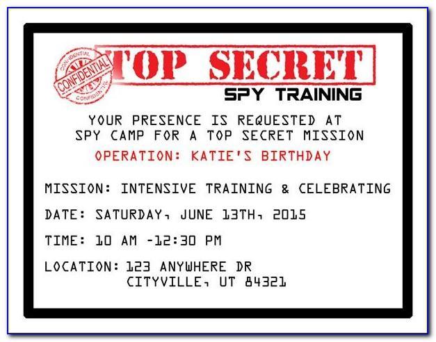 Free Secret Agent Invitation Template