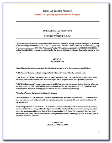 Free Template For Llc Operating Agreement