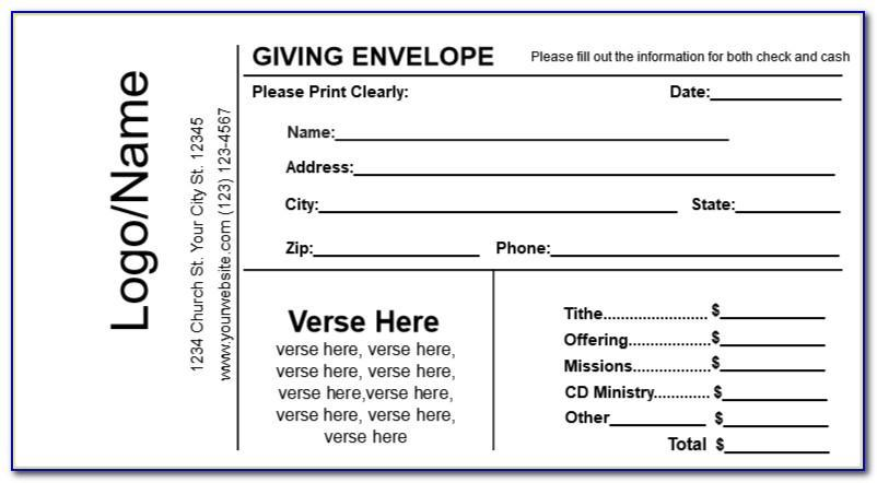 Free Tithe And Offering Envelope Template