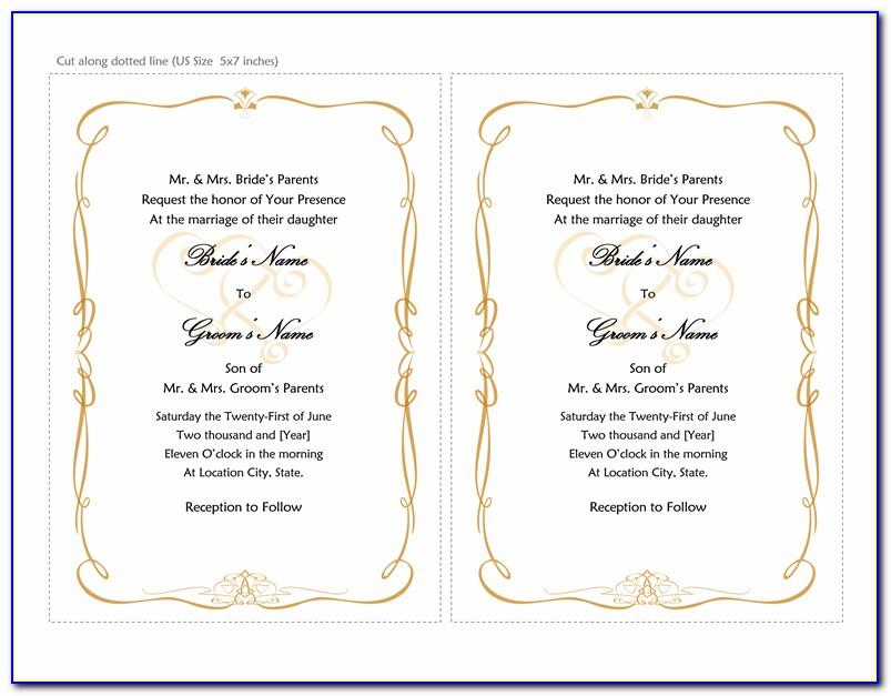 Free Wedding Invitation Template For Microsoft Word