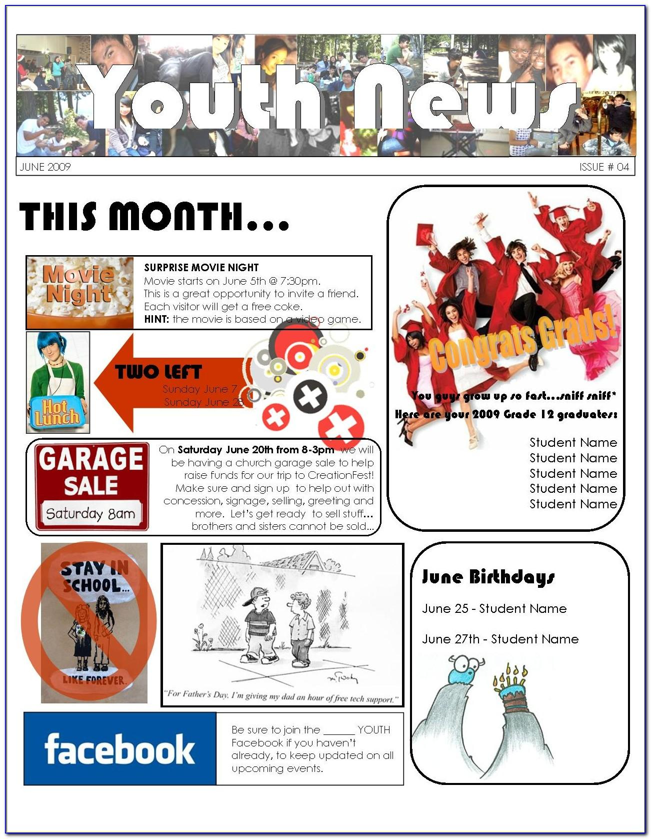 Free Youth Ministry Newsletter Templates