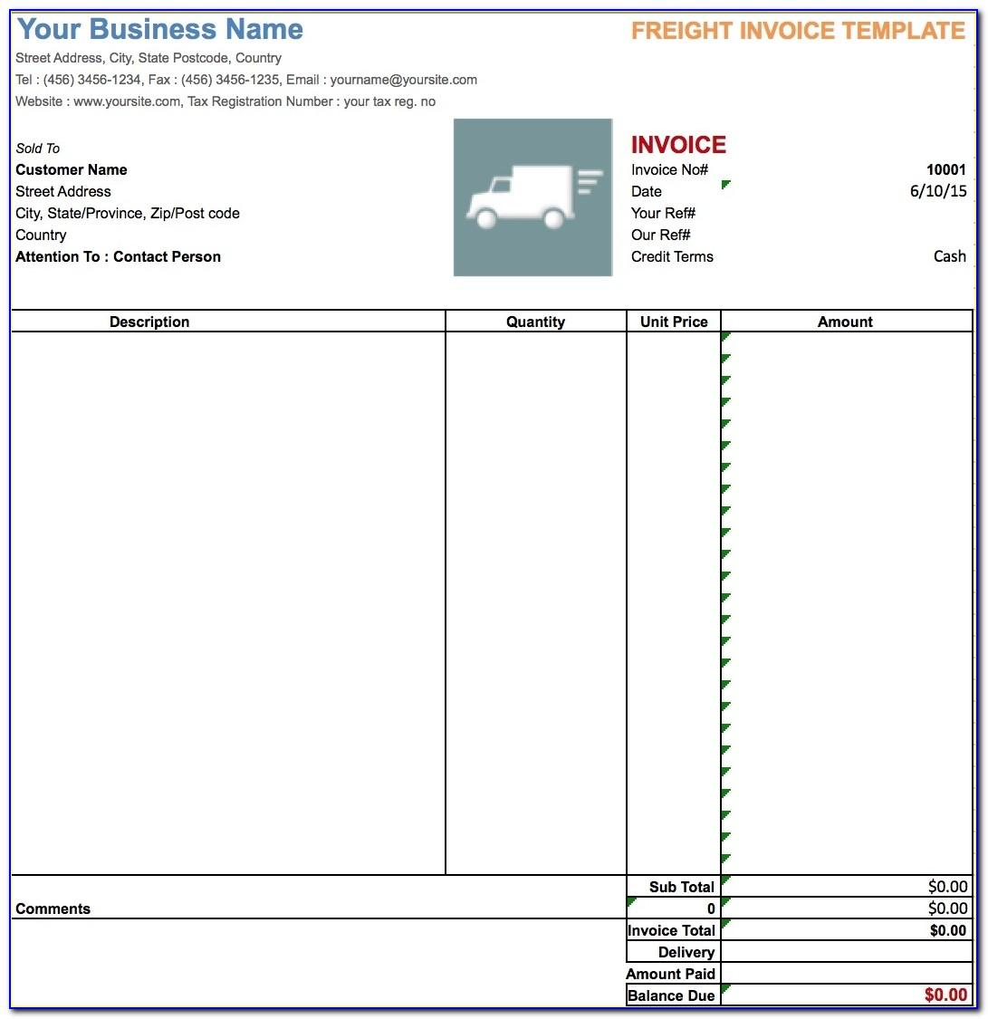 Freight Invoice Template Free