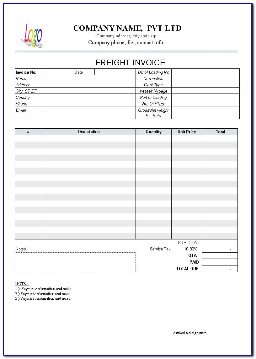 Freight Invoice Template Word