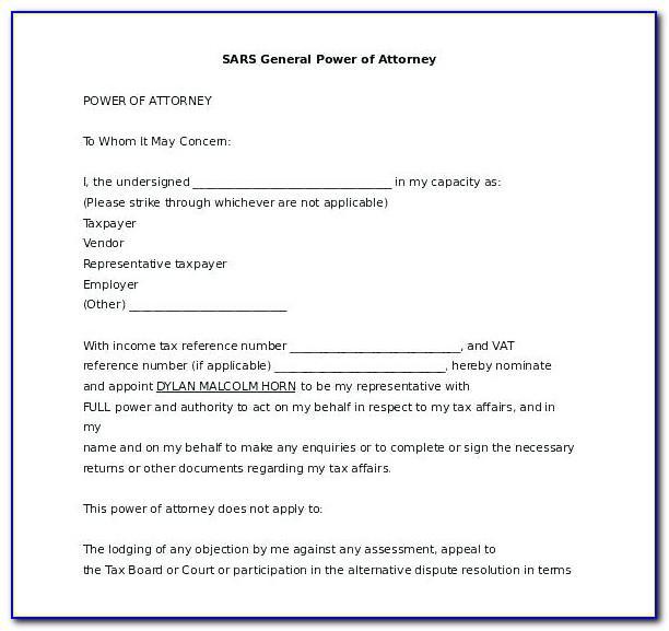 Full Power Of Attorney Document