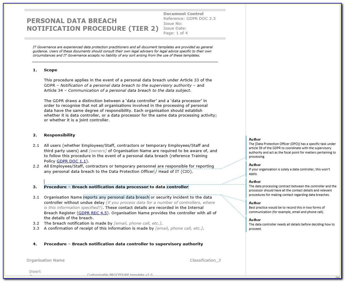 Gdpr Breach Notification Template Uk