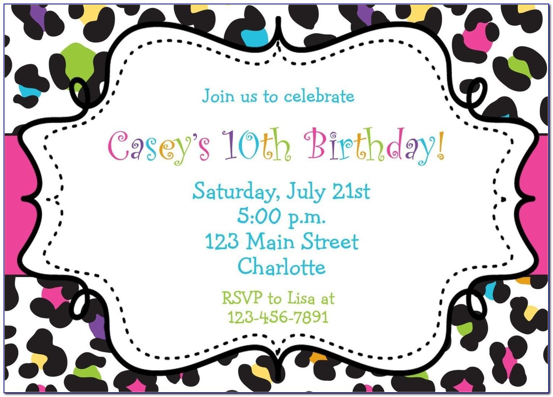 Girl Birthday Invitation Card Template