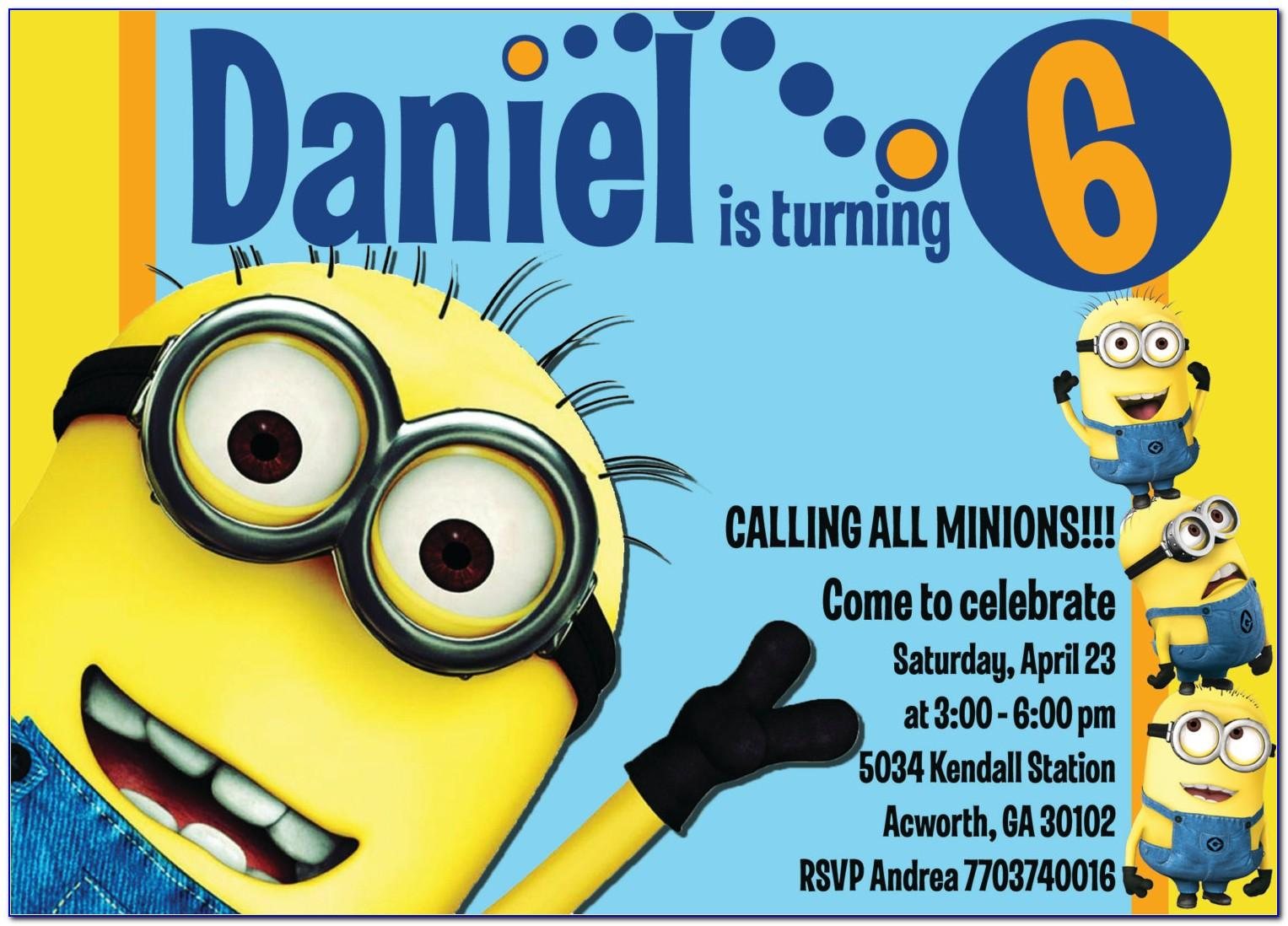 Girl Minion Party Invite Template