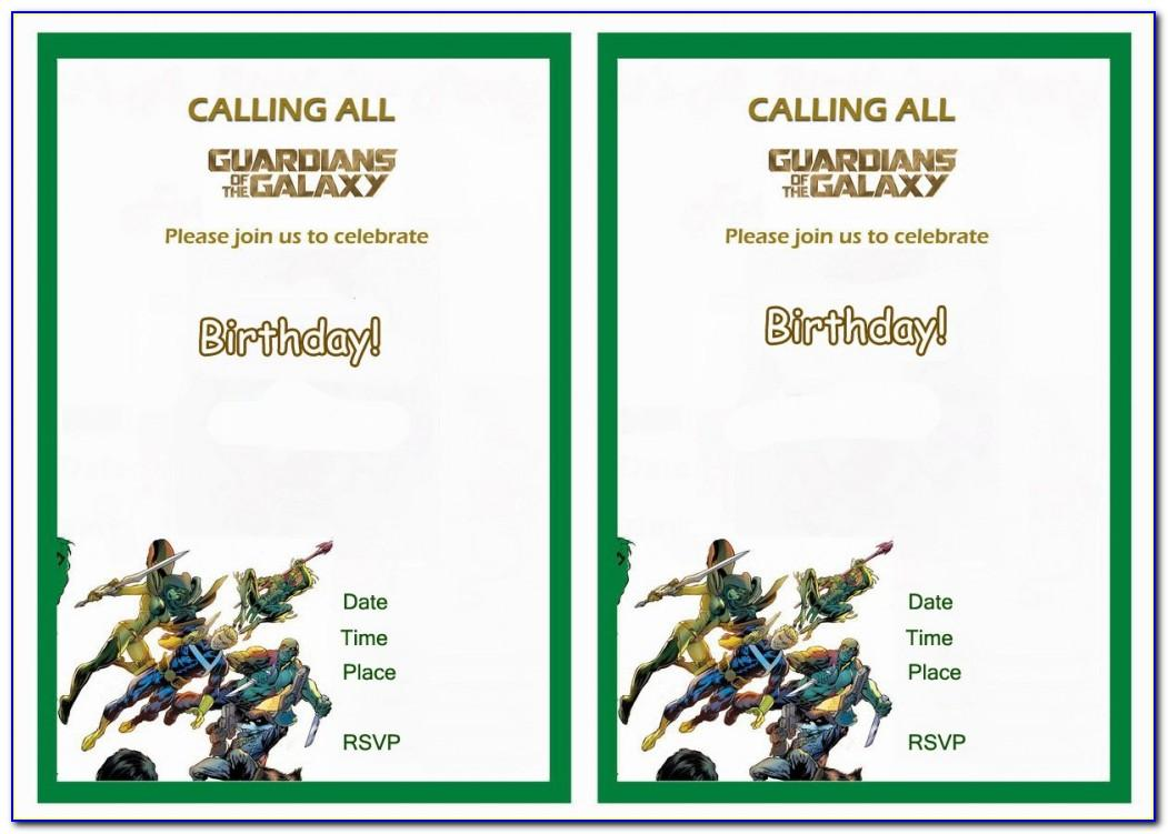 Guardians Of The Galaxy Birthday Invitation Template