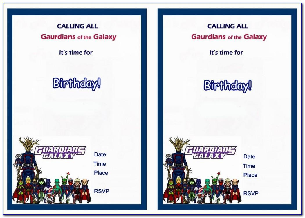 Guardians Of The Galaxy Invitation Template