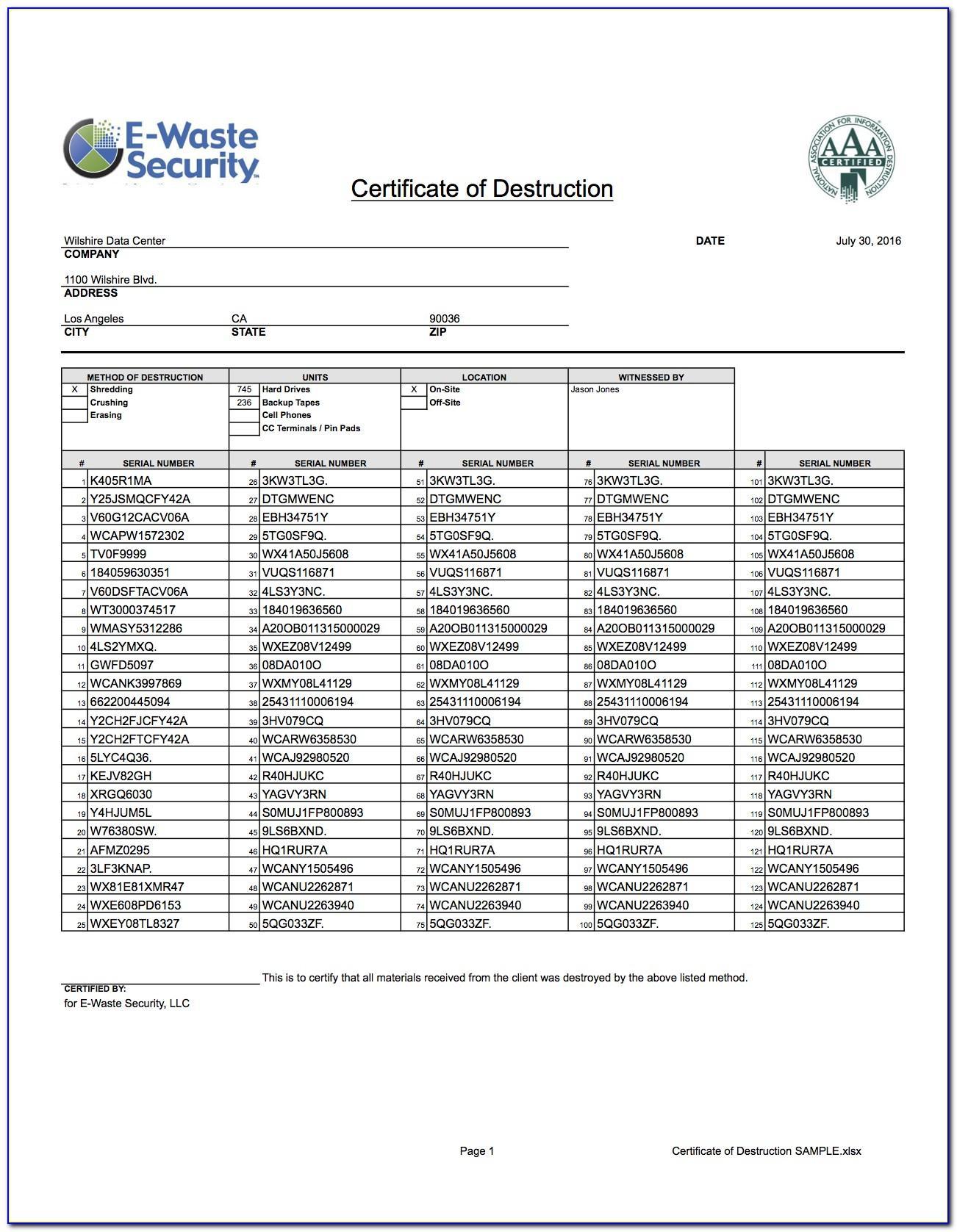 Hard Drive Certificate Of Destruction Template