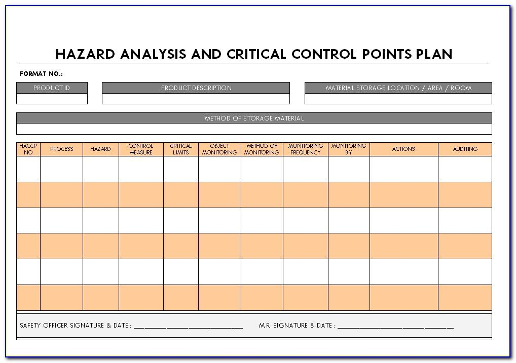 Hazard Analysis Critical Control Point Template