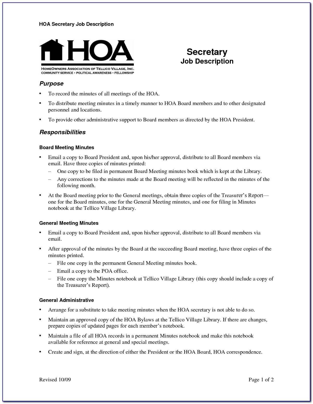 Hoa Annual Meeting Minutes Template