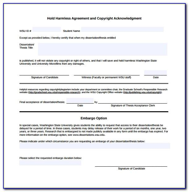 Hold Harmless Agreement Template Canada