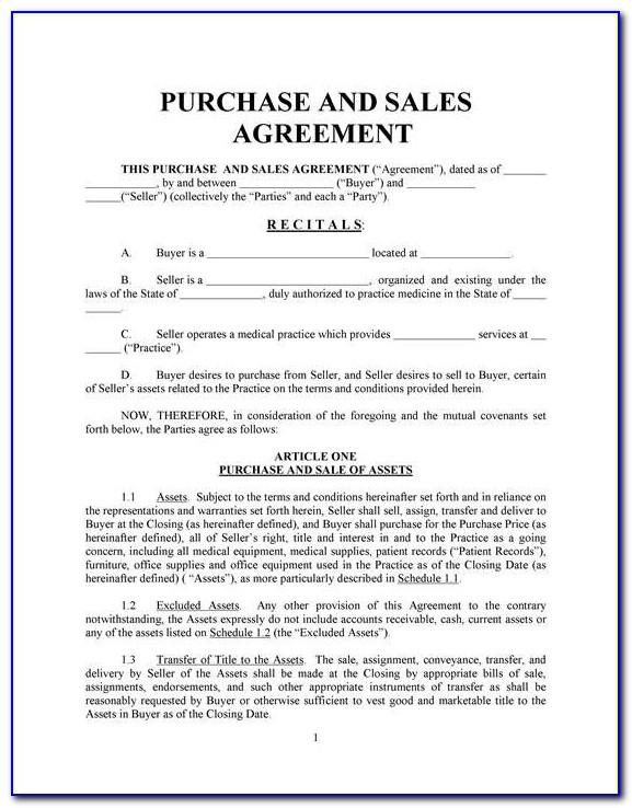 Home Purchase Agreement Template Free