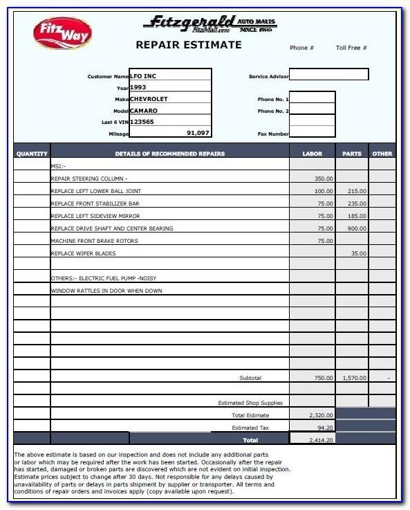 Home Repair Estimate Form Free