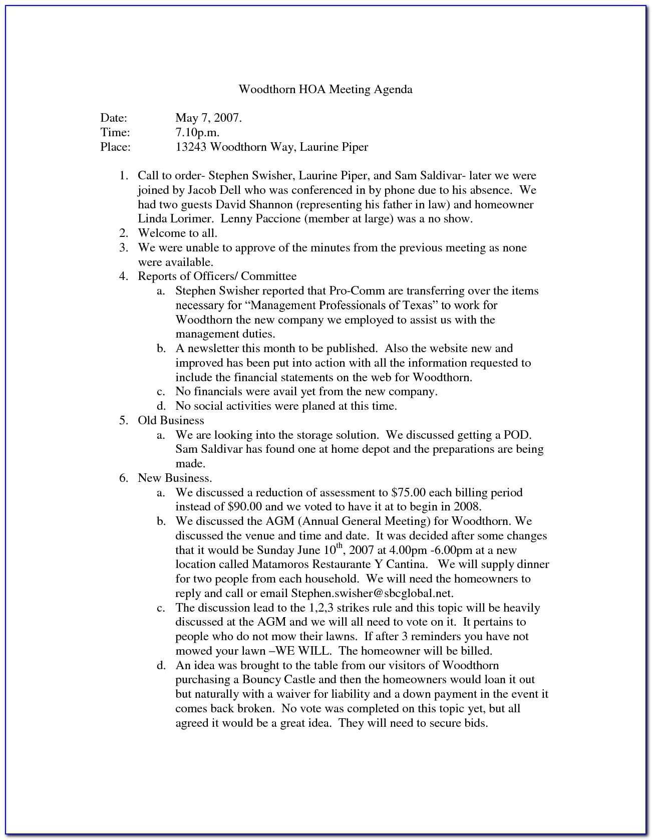 Homeowners Association Annual Meeting Minutes Template