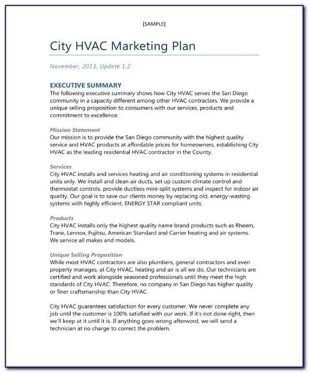 Hvac Business Plan Template Pdf