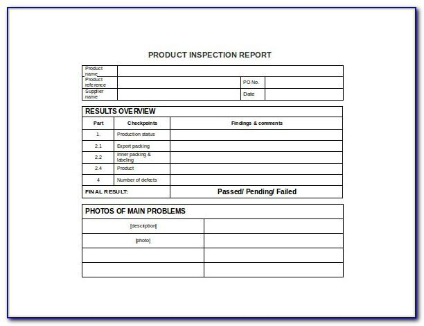 Inspection Report Format Word