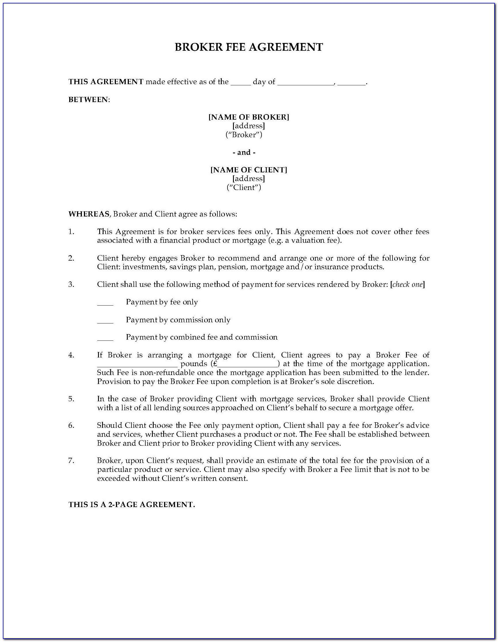Insurance Broker Fee Agreement Template