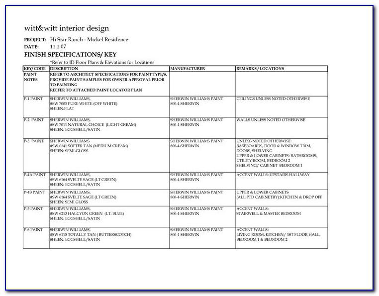 Interior Design Finish Schedule Template