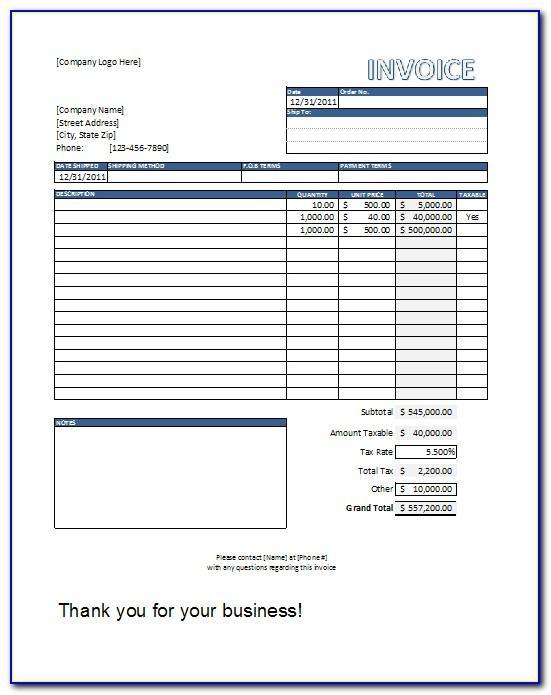 Invoice Sample Template Free