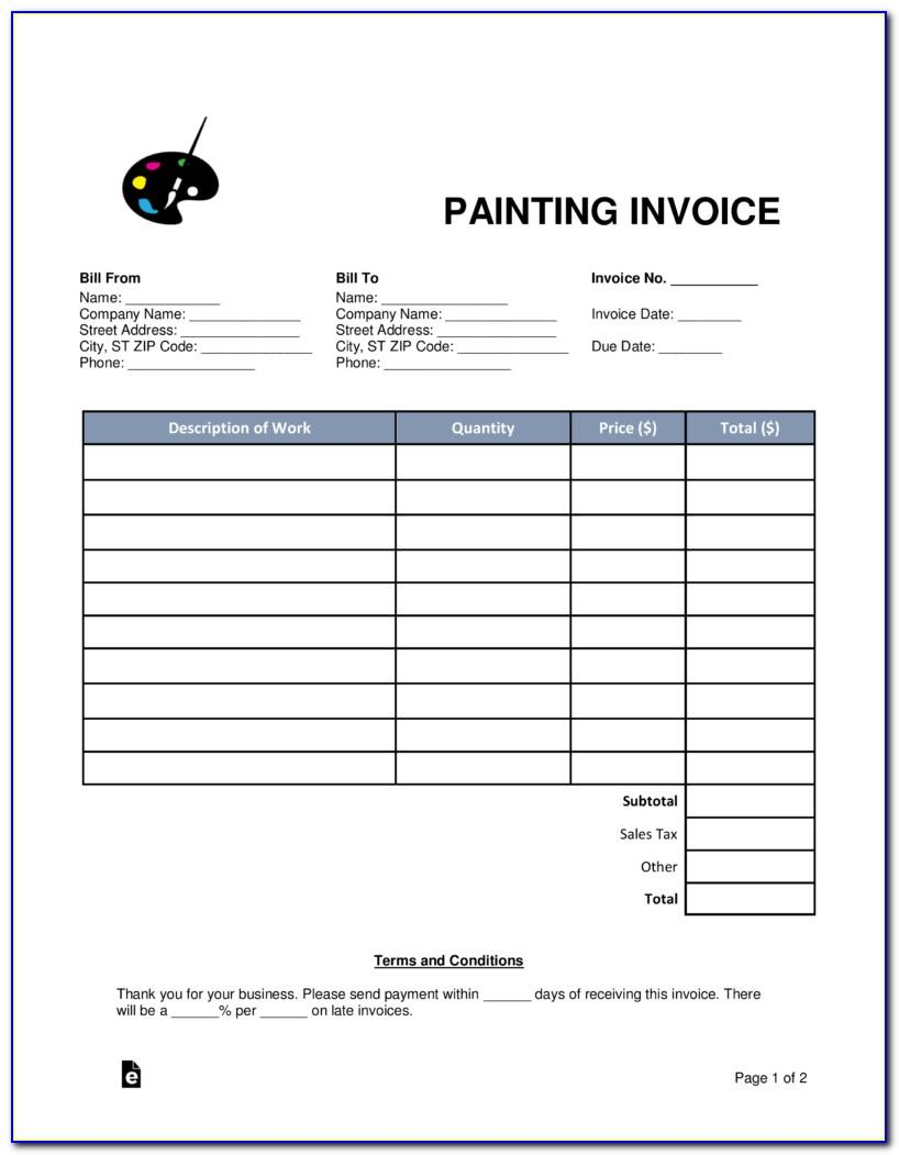Invoice Template For Painters