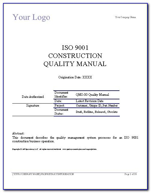 Iso 9001 Quality Management System Manual Template
