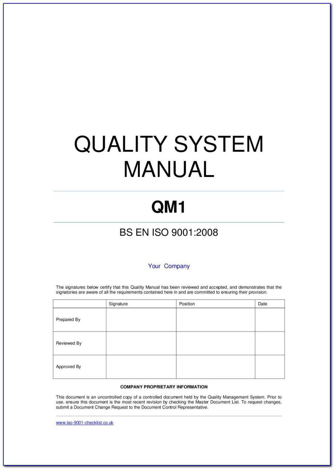 Iso 9001 Quality Manual 2015 Template