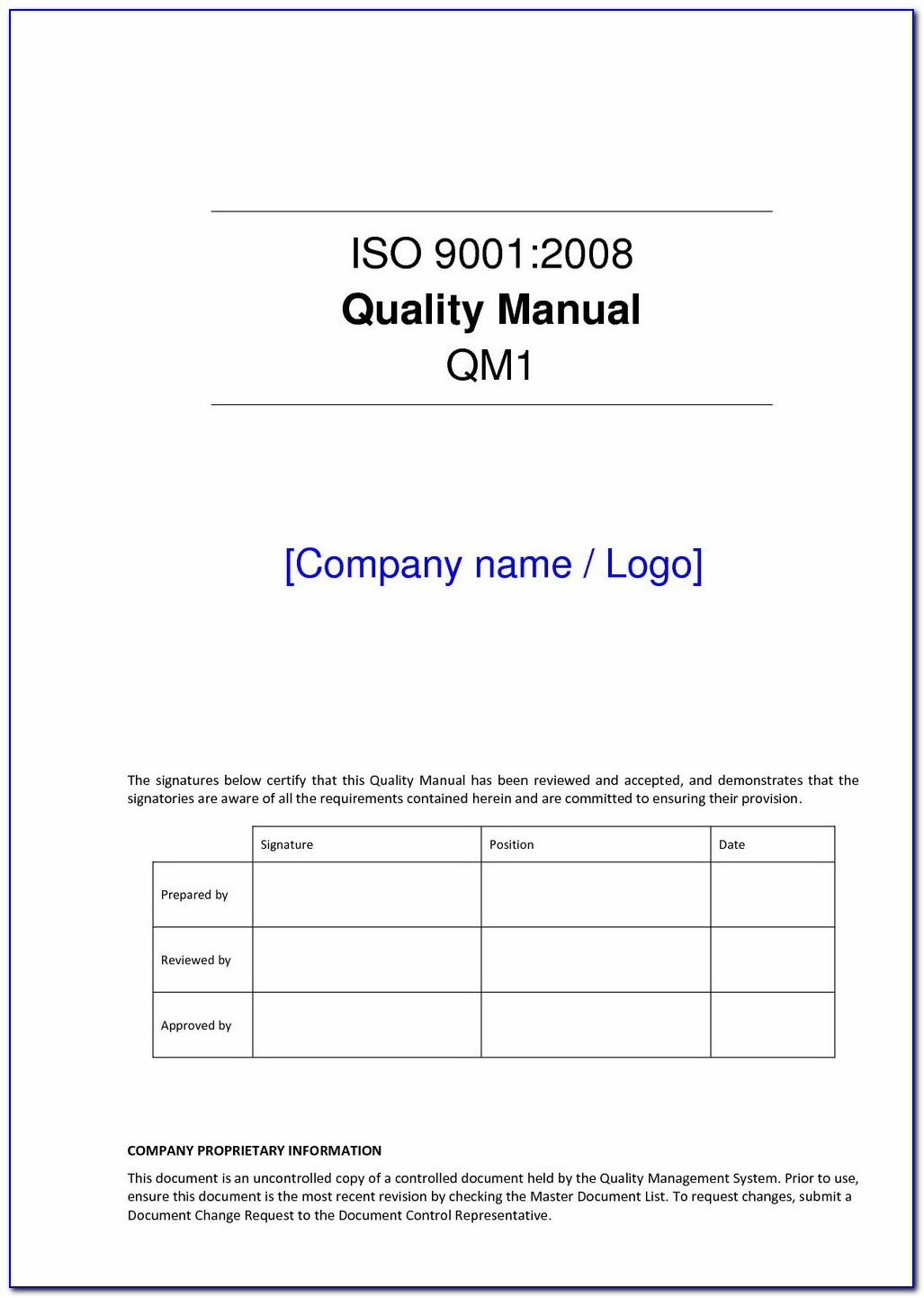 Iso 9001 Version 2015 Quality Manual Template