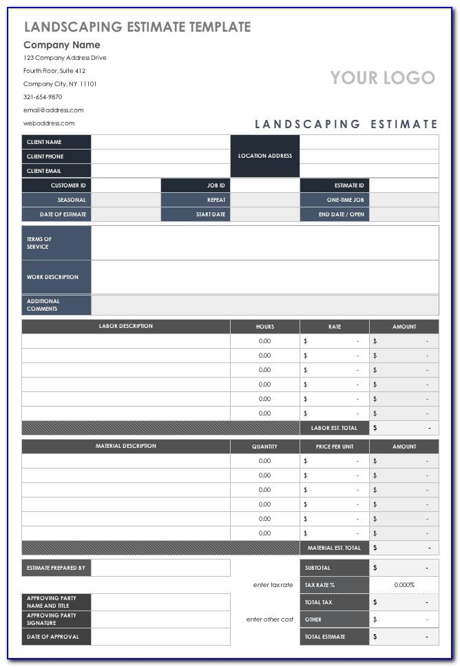 Landscape Design Estimate Template