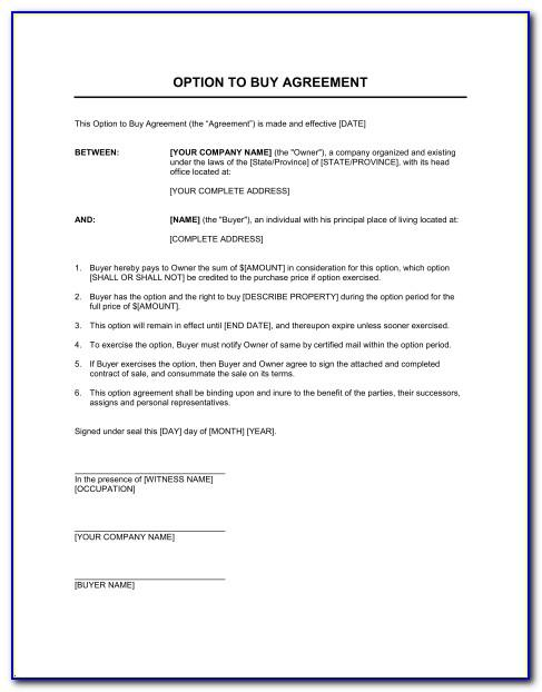 Lease Option To Buy Land Contract Example