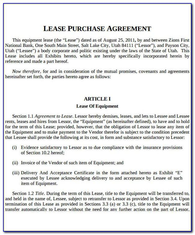 Lease To Own Car Agreement Sample