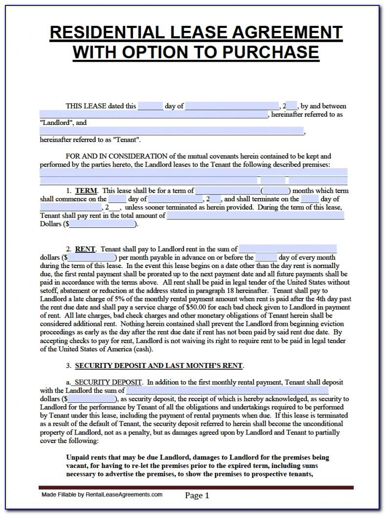 Lease With Option To Buy Contract Form