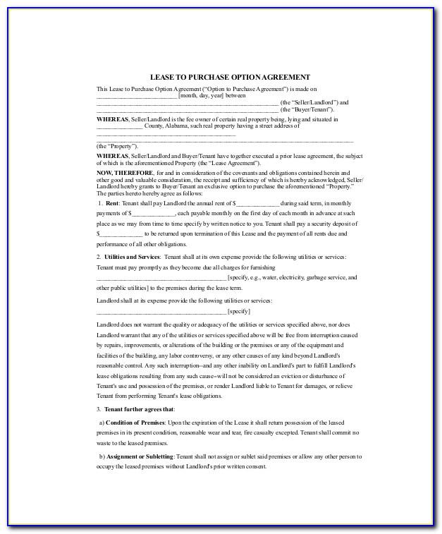 Lease With Option To Purchase Contract Example