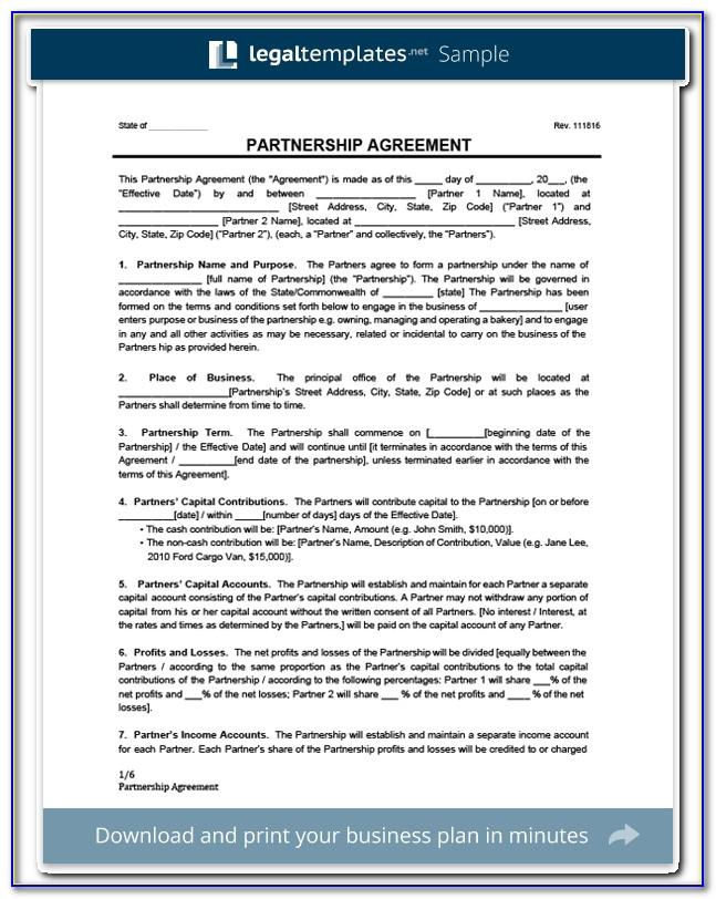 Legal Business Partnership Agreement Template