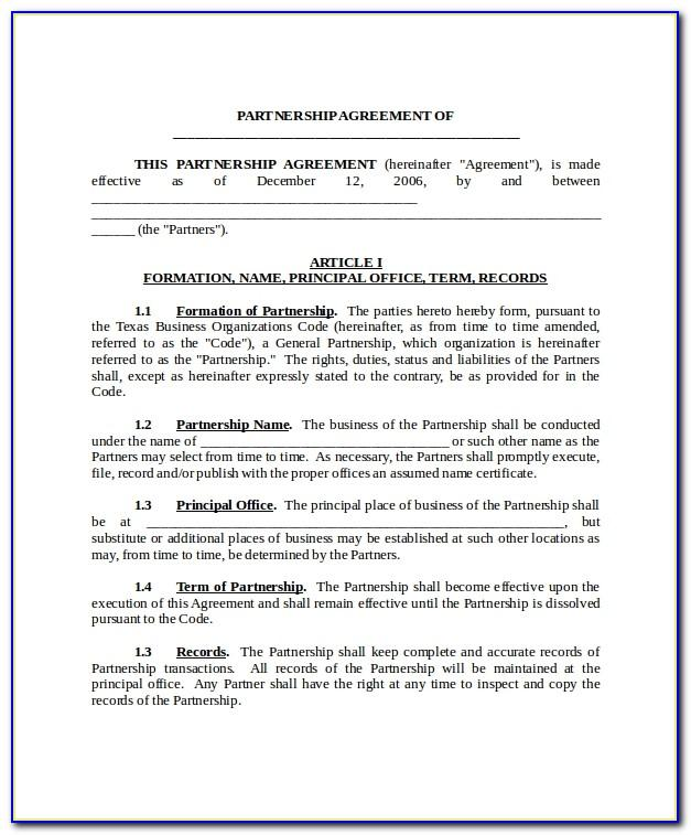 Legal Partnership Agreement Template